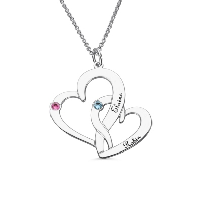 Interlocking 2 Open Hearts Necklace with Names & Birthstones