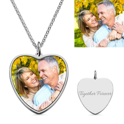 Engraved Heart Shape Photo Necklace Stainless Steel