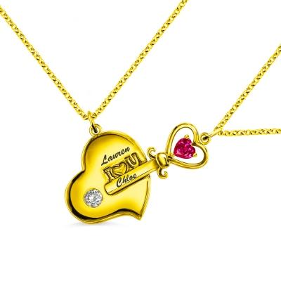 Key to My Heart Birthstone Necklace For Mother And Daughter In Gold