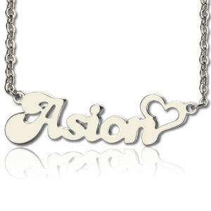 Custom BANANA Font Heart Shape Name Necklace White Gold 10k/14k/18k