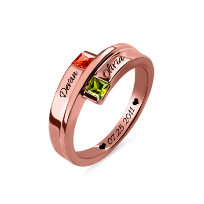 Engraved Double Square Birthstones Name Ring In Rose Gold