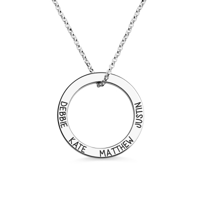 Engraved 4 Names Hoop Family Necklace Sterling Silver