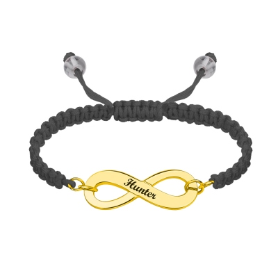 Engraved Infinity Symbol Cord Bracelet Gold Plated