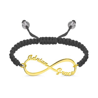 Personalized Infinity 2 Names Cord Bracelet Gold Plated