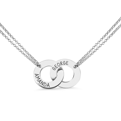 Engraved Interlocking Two Names Circle Necklace Sterling Silver