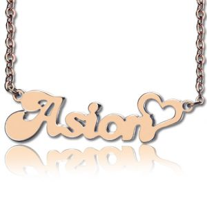 BANANA Font Heart Name Necklace 10k/14k/18k Rose Gold