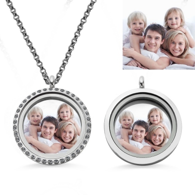 Round Floating Locket Photo Necklace Stainless Steel