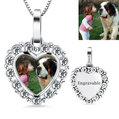 Memorial Gift: Engraved Photo Heart Pendant Necklace