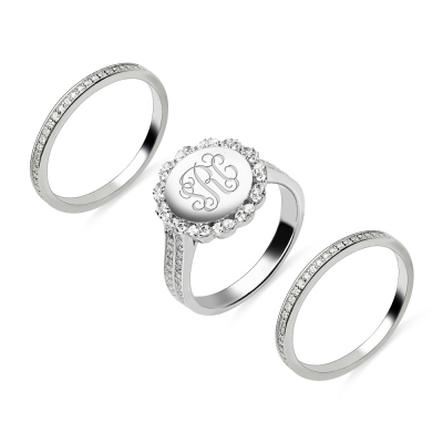 Stackable Monogram Silver Ring With Cubic Zirconia