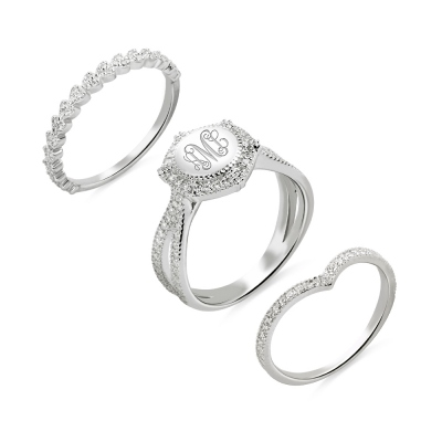 Custom Engraved Stackable Monogram Ring Sterling Silver