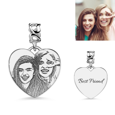 Engraved Heart Photo Charm Sterling Silver