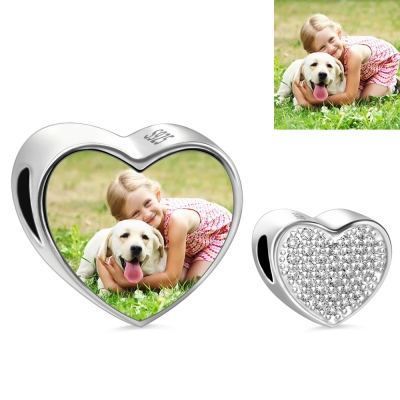 Crystal Heart Photo Charm Sterling Silver