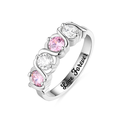 Custom 4 Birthstones Hugs and Kisses XoXo Ring Sterling Silver