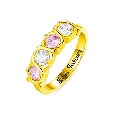 Custom 4 Birthstones Hugs and Kisses XoXo Ring Gold Plated