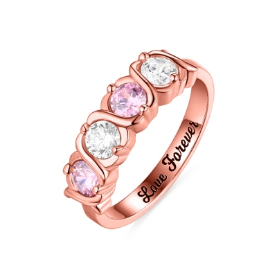 Custom 4 Birthstones Hugs and Kisses XoXo Ring In Rose Gold