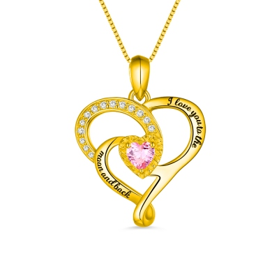 I Love You To The Moon And Back Birthstone Necklace Gold Plated