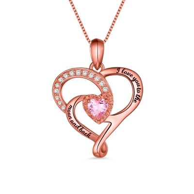 I Love You To The Moon And Back Birthstone Necklace In Rose Gold