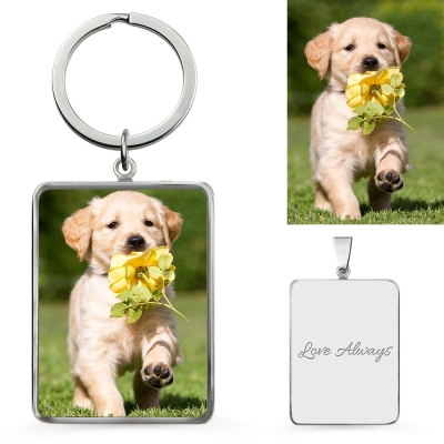 Custom Color Dog Photo Keychain Sterling Silver