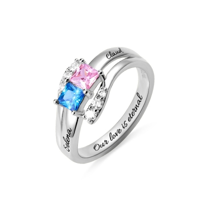 Custom Engraved Two Birthstones Ring Sterling Silver
