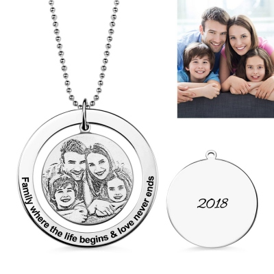 Circular Ring Pendant Engraved Circle Family Photo Necklace