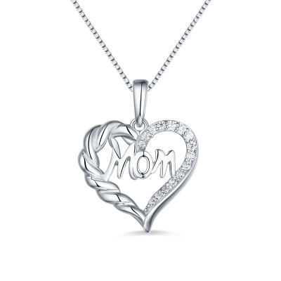 Personalized Heart Necklace For Mom Sterling Silver