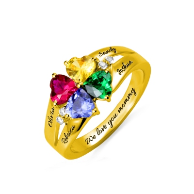 Custom Engravable 4 Heart Birthstones Name Ring Gold Plated