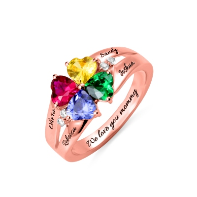 Custom Four Heart Birthstones & Names Ring In Rose Gold
