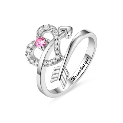 Personalized Cupid's Arrow Heart Ring Sterling Silver