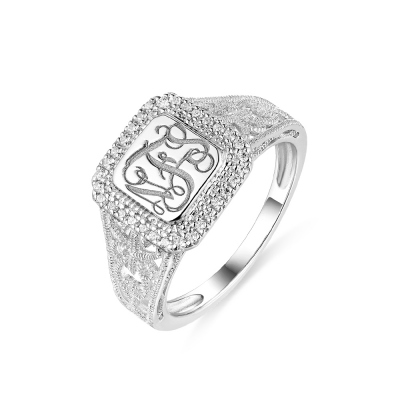 Personalized Monogram Ring With Cubic Zirconia