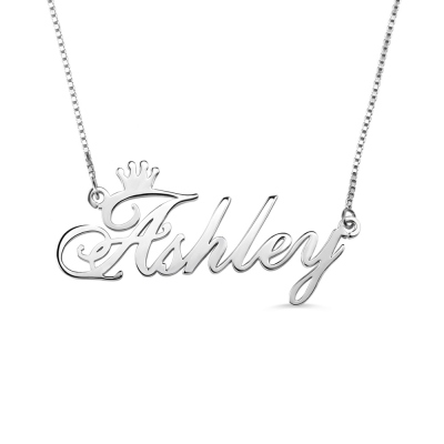 Personalized Name Crown Necklace Sterling Silver