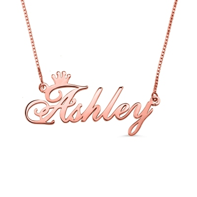 Personalized Name Crown Necklace In Rose Gold