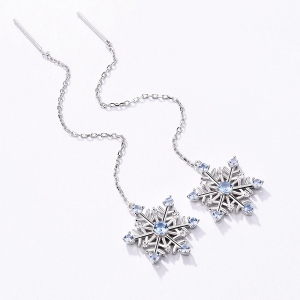 Snowflake Gemstone Long Earrings in Silver
