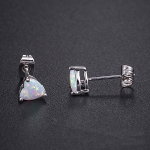 Copper Opal Heart Studs Earring