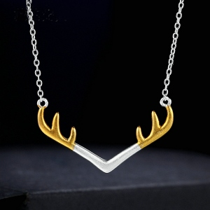 Deer Antler Necklace Sterling Silver