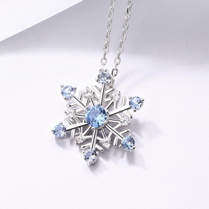 Snowflake Gemstone Necklace in Sliver