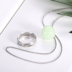 Personalized Luminous Ball Ring Necklace
