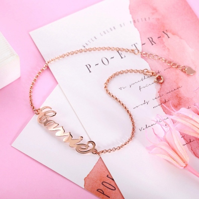 Personalized Name Anklet in Rose Gold