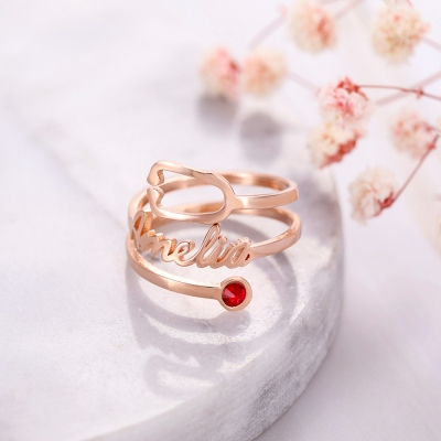 Personalized Name & Birthstone Stethoscope Ring in Rose Gold