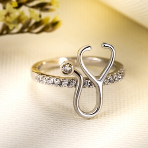 Personalized Birthstone Stethoscope Ring
