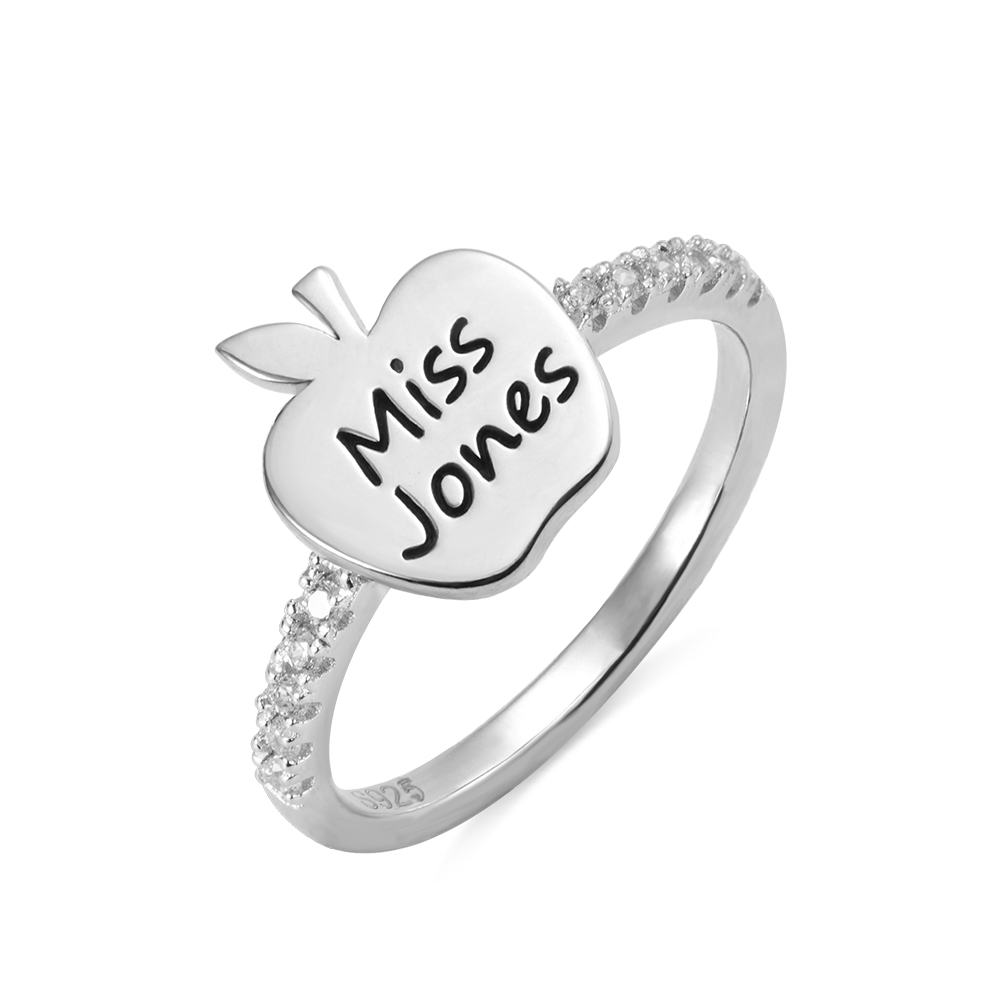 Personalized Engraved Apple Ring