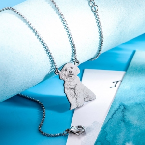 Personalized Stainless Steel Engraved Pet Photo Necklace