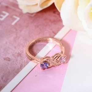 Personalized Infinity Ring with Birthstone Sterling Silver
