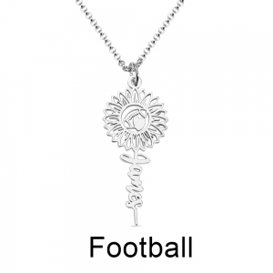 Personalized Sunflower with Ball Name Necklace