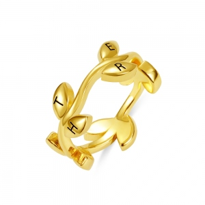 Personalized Initial Leaf Stackable Ring