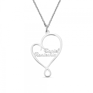 Personalized Heart and Hug 1 - 8 Names Necklace