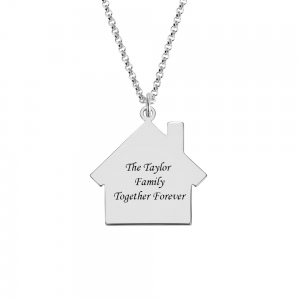 Personalized Birthstone Family Name Necklace for Mother in Silver
