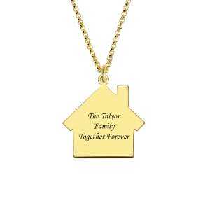 Personalized Birthstone Family Name Necklace for Mother in Gold
