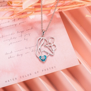 Personalized Love Epoxy Birthstone Necklace