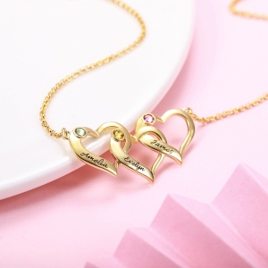 Personalized Intertwined Hearts Necklace with Birthstone in Gold