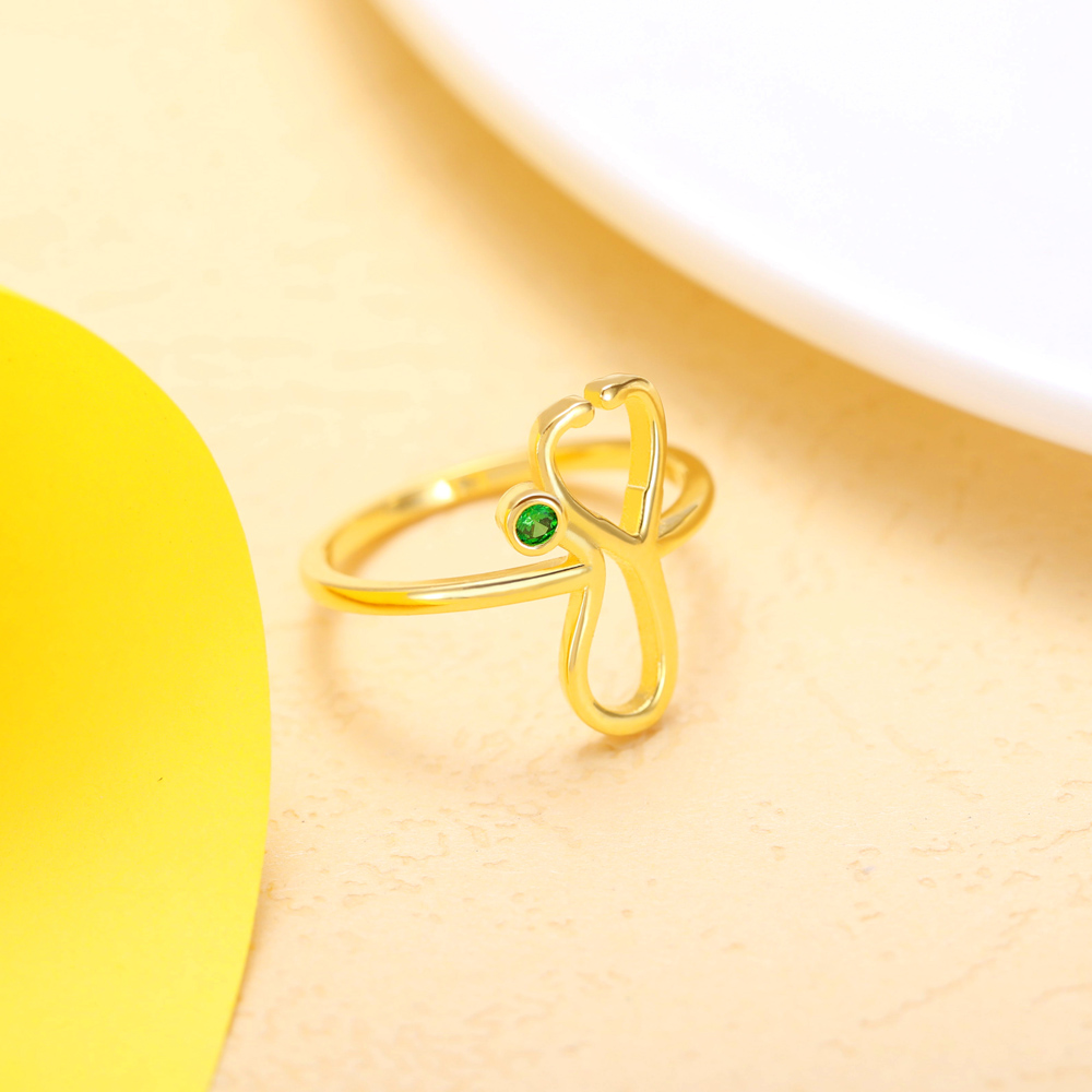 Personalized Stethoscope Birthstone Ring in Gold